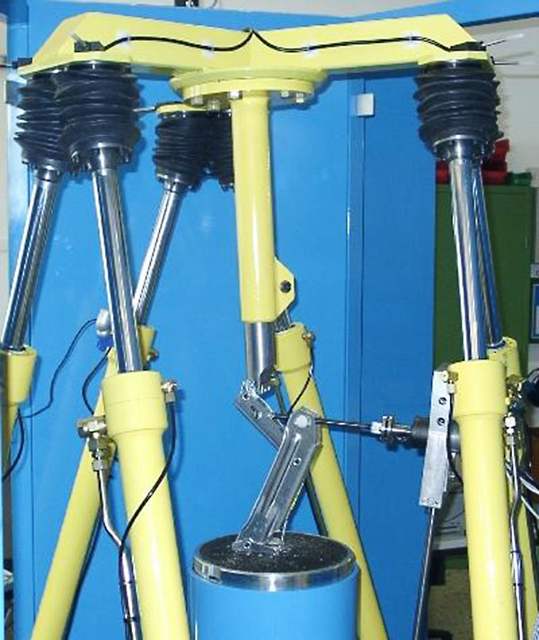 A head plate is positioned in space via six hydraulic servo axes